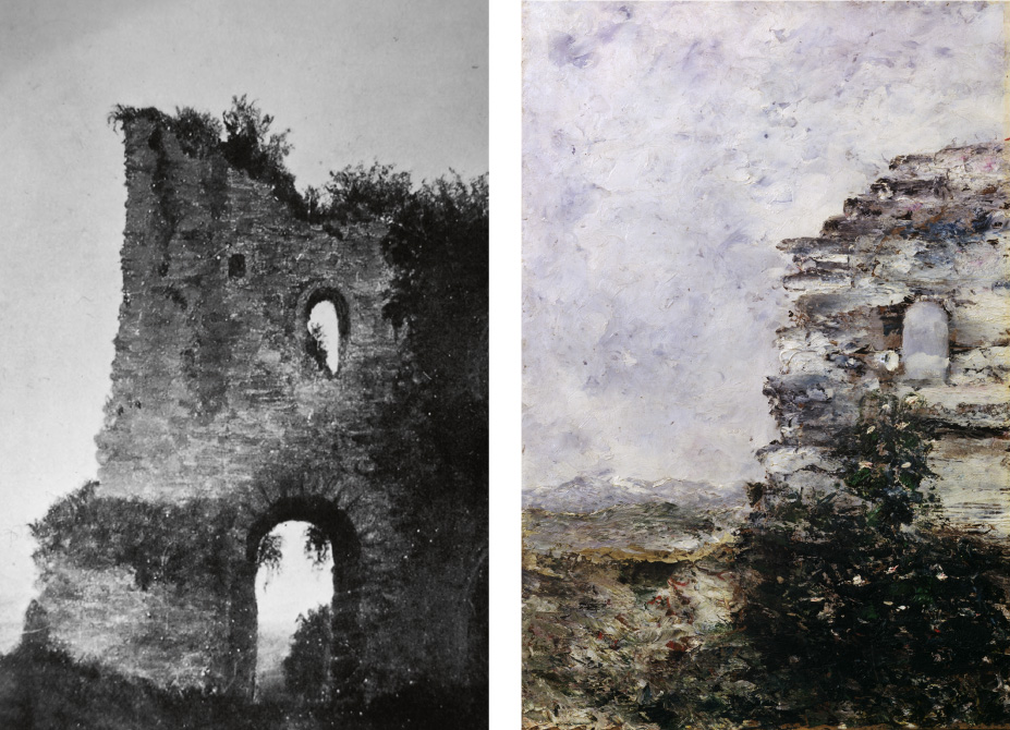Vänster bild: Utsnitt av foto föreställande den försvunna målningen