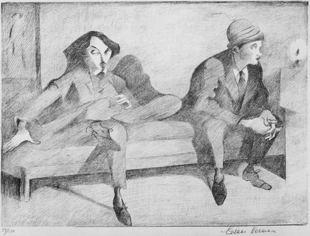 Konstnärsvännerna Isaac Grünewald och Einar Jolin av Einar Nerman.