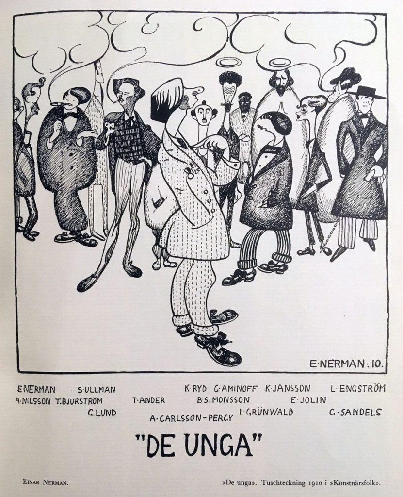 """""""De Unga"""", tuschteckning av Einar Nerman i """"Konstnärsfolk""""."""